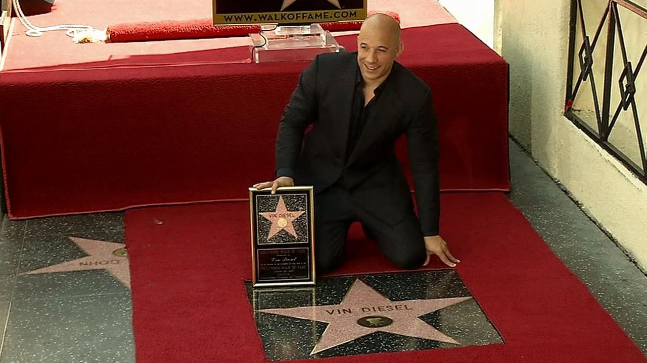 Vin Diesel receives a star on the Hollywood Walk of Fame in front of the Roosevelt Hotel on Hollywood Boulevard on Monday, Aug. 26, 2013.