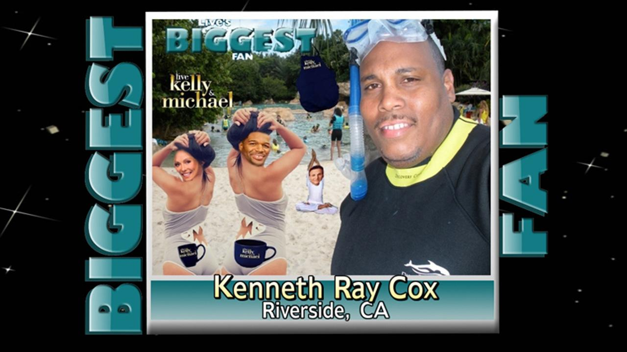 Kenneth Cox, 42, of Riverside, was announced as the winner of LIVE with Kelly and Michaels Biggest Fan Search.