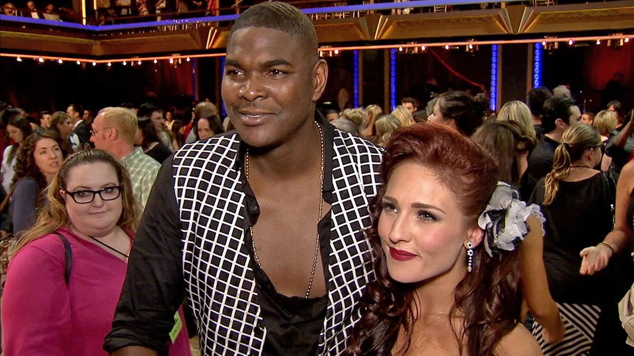 Former Super Bowl champ Keyshawn Johnson and his partner Sharna Burgess talk to Eyewitness News following their elimination on Monday, Sept. 23, 2013.
