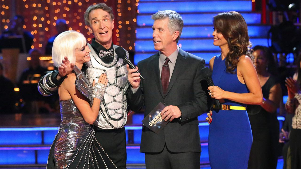 Bill Nye The Science Guy and partner Tyne Stecklein were the second couple to be eliminated on Dancing With The Stars Season 17 on Monday, Sept. 30, 2013.