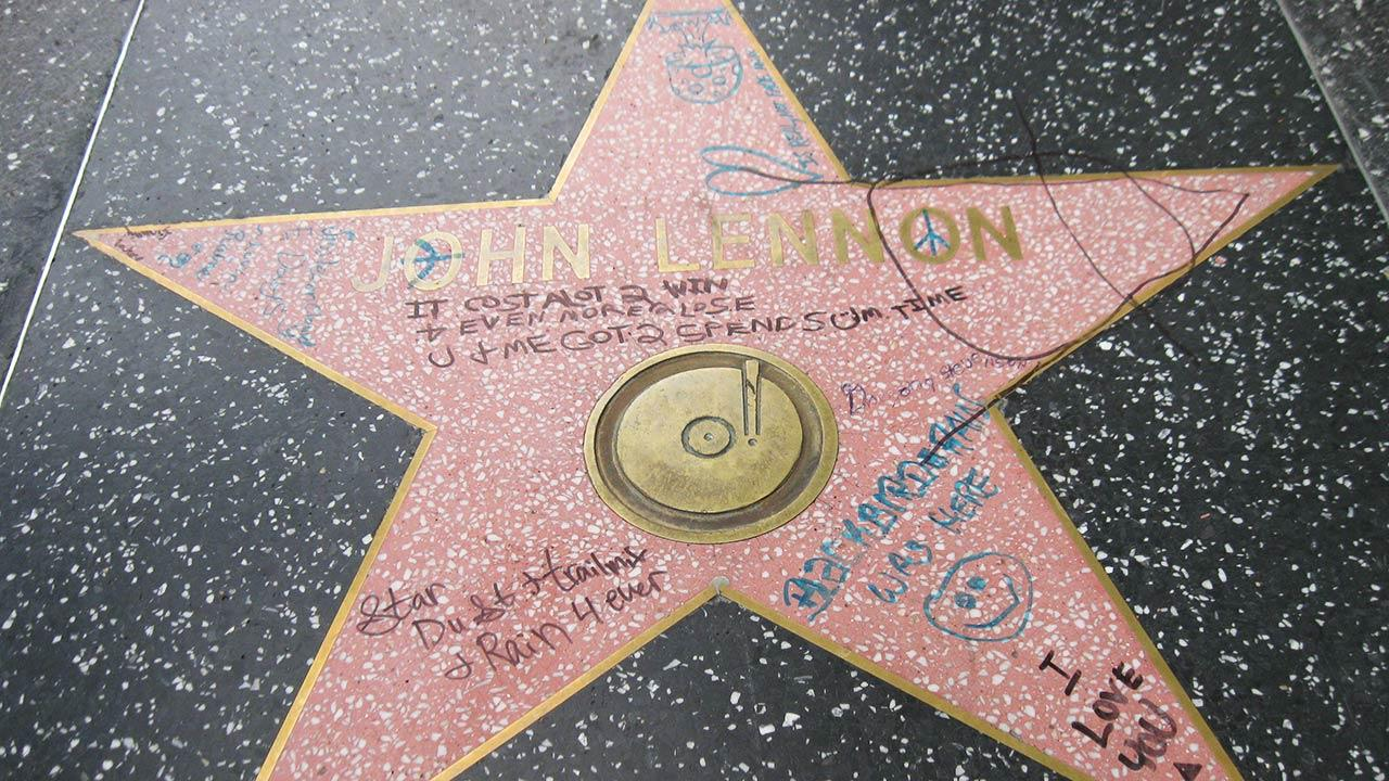 John Lennons Walk of Fame star was vandalized, as shown in this photo by ABC7 viewer Peter Bermont.