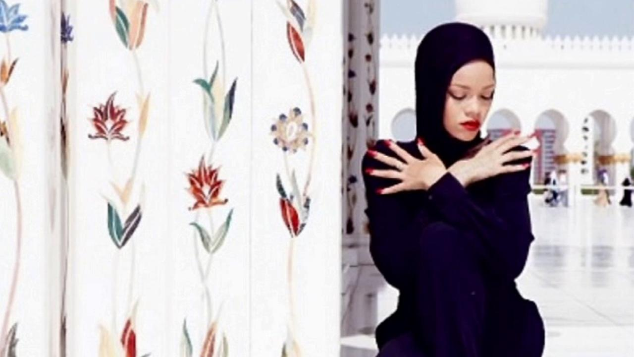 Singer Rihanna is seen in a photo taken at Sheikh Zayed Grand Mosque in Abu Dhabi, Oct. 2013.