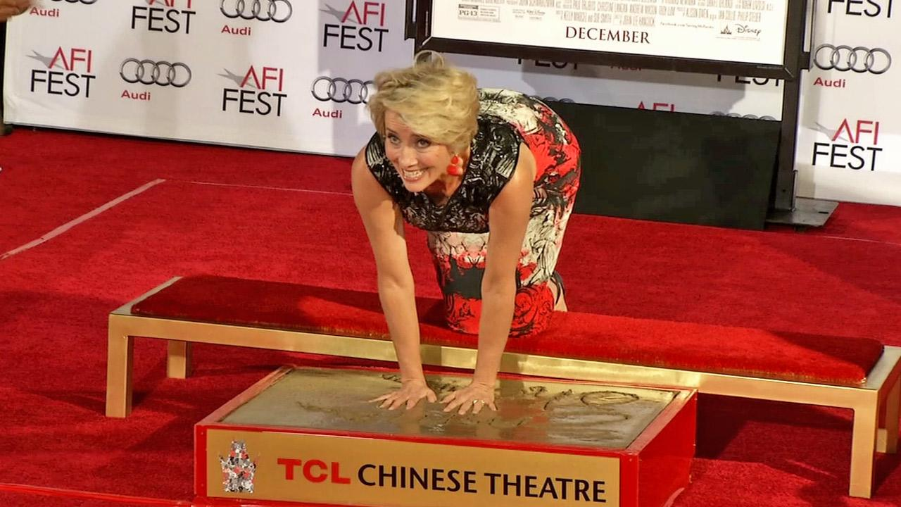 Emma Thompson is honored with a hand and footprint ceremony at the TCL Chinese Theatre on Thursday, Nov. 7, 2013 in Los Angeles.