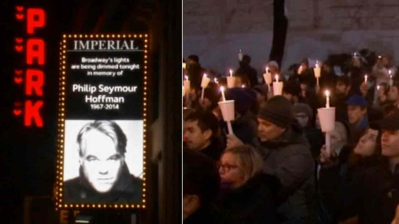 A vigil, sponsored by the Labyrinth Theater Company, was held Wednesday, Feb. 5, 2014, in New York in honor of actor Philip Seymour Hoffman, who died of a suspected drug overdose Sunday.