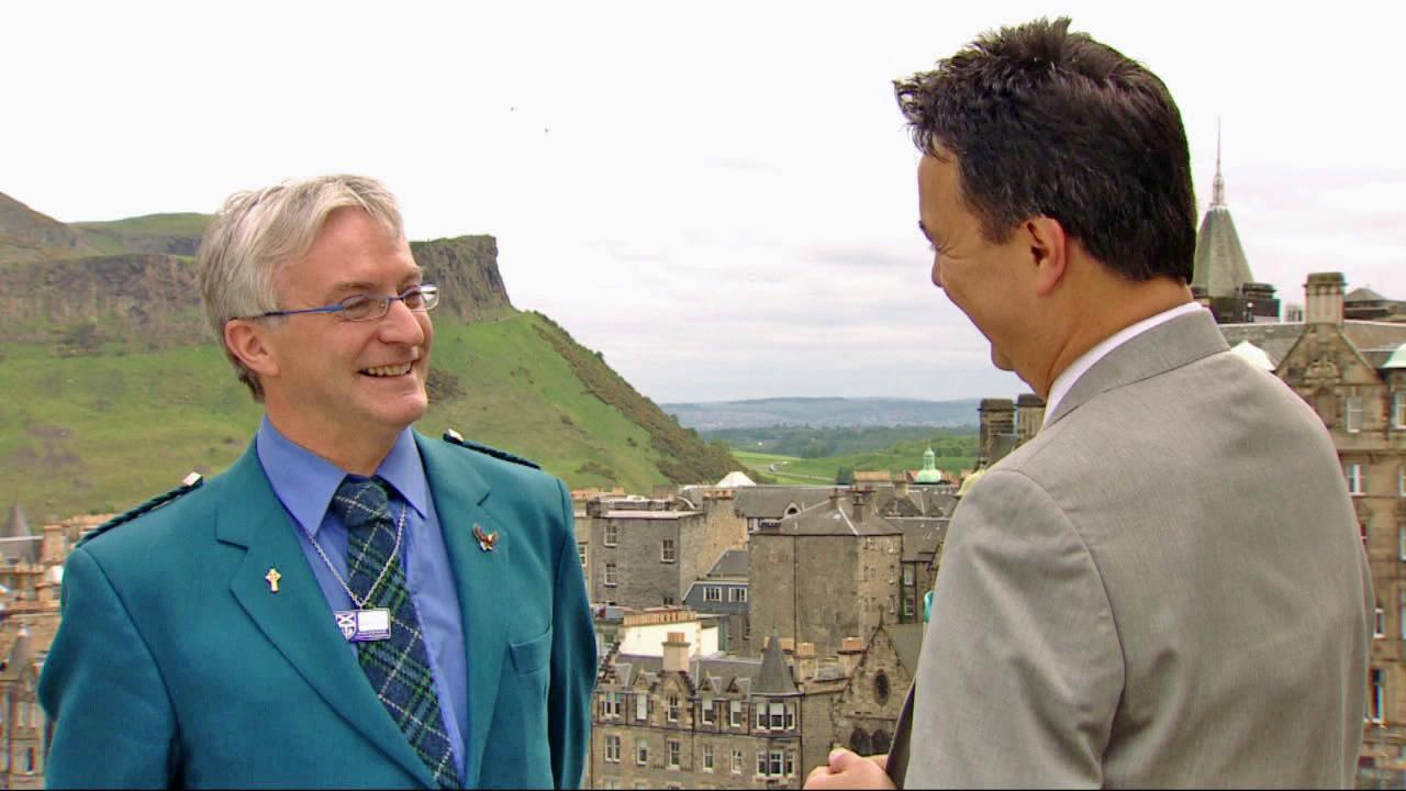 Scotland tourism expert Les McInulty (left) discusses the potential impact on Scottish tourism thanks to the animated film Brave, which takes place in Scotland.