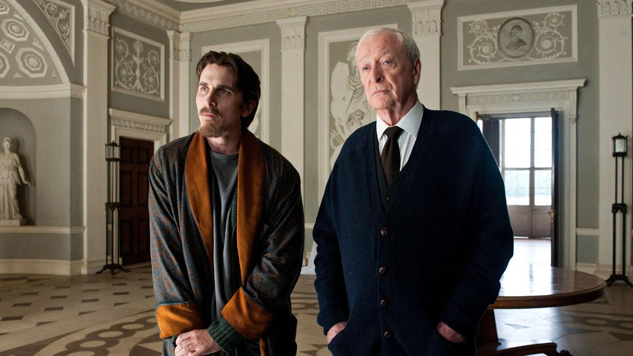 Christian Bale and Michael Caine appear in the 2012 film The Dark Knight Rises.