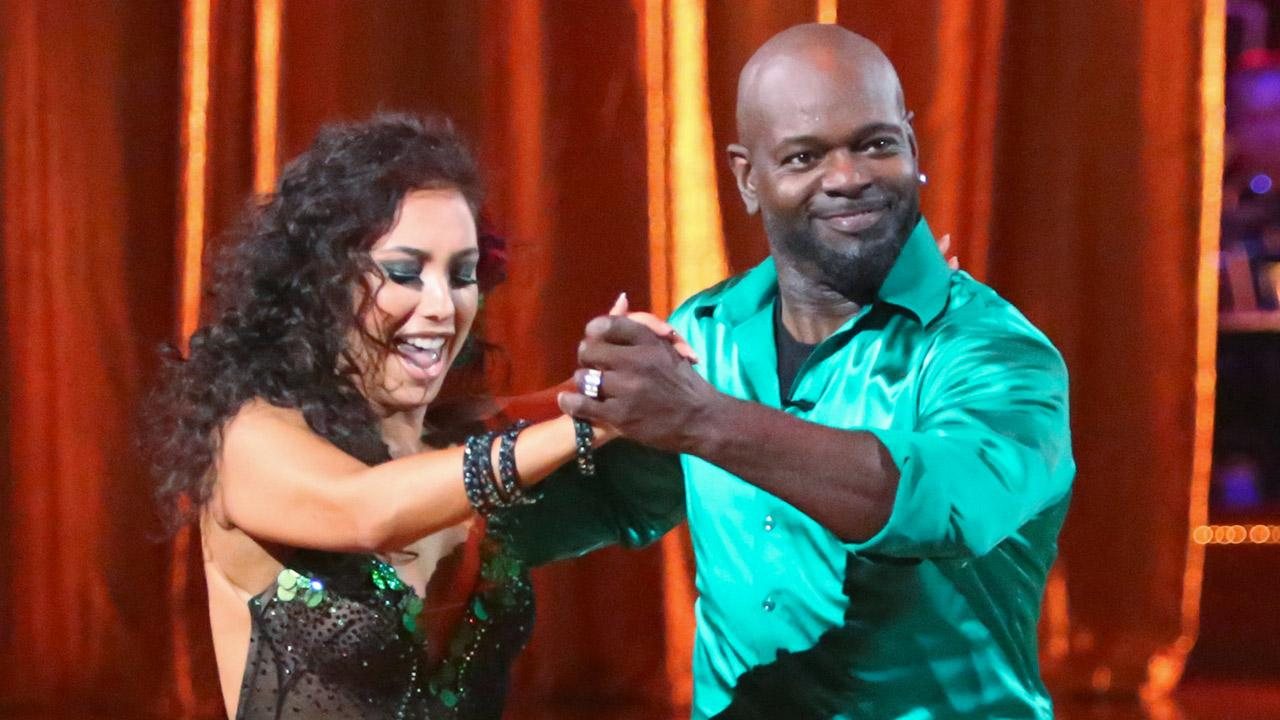 Emmitt Smith and Cheryl Burke perform on the season premiere of Dancing With The Stars: All Stars on Monday, Sept. 24, 2012.