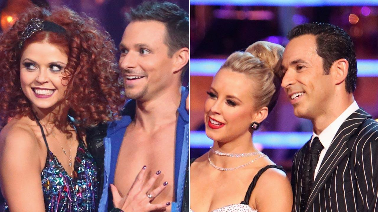 Drew Lachey, his partner Anna Trebunskaya (left) and Helio Castroneves and his partner Chelsie Hightower (right) appear on Dancing With The Stars: The Results Show on Tuesday, Oct. 9, 2012.