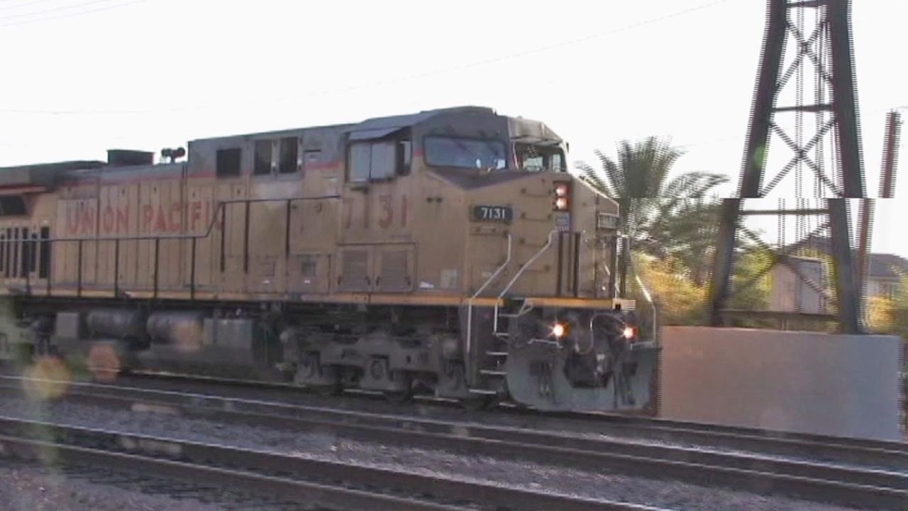 A Union Pacific train is shown in Riverside, where a man was struck and killed by a freight train near Chicago Avenue on Saturday, June 30, 2012.