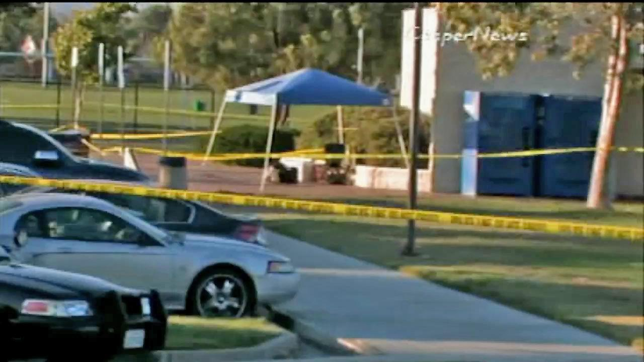 An invesitgation scene for an officer-involved shooting at the Moreno Valley Community Park appears in this photo from July 2012.