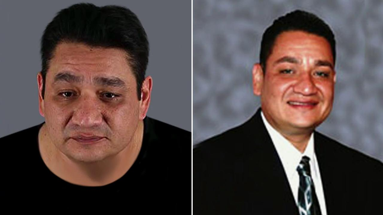 Mike Rios, 42, is shown in these two file images. Rios, a Moreno Valley Unified School District board member, was charged with pimping, pandering and rape. He also faces an attempted murder charge for a shooting outside his home in February, 2012.