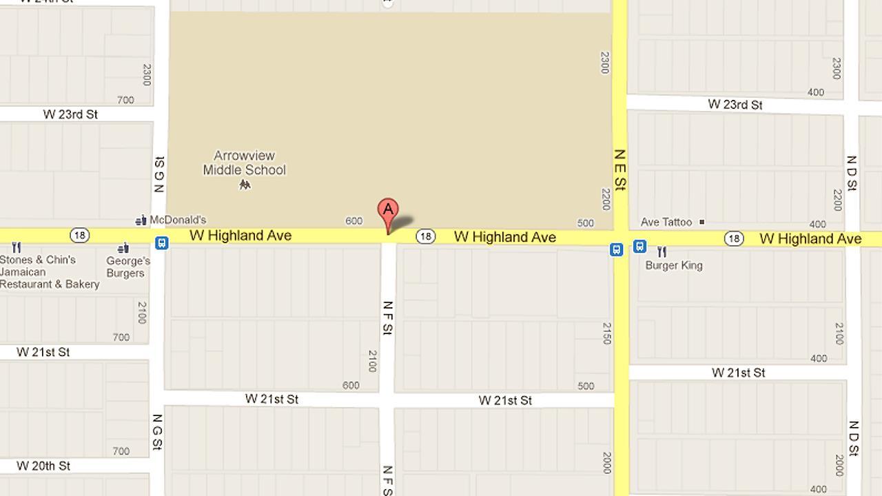 A map shows the 600 block of West Highland in San Bernardino.