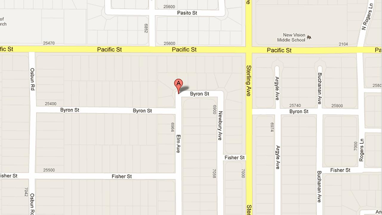 A map shows the 6900 block of Elm Avenue in Highland.