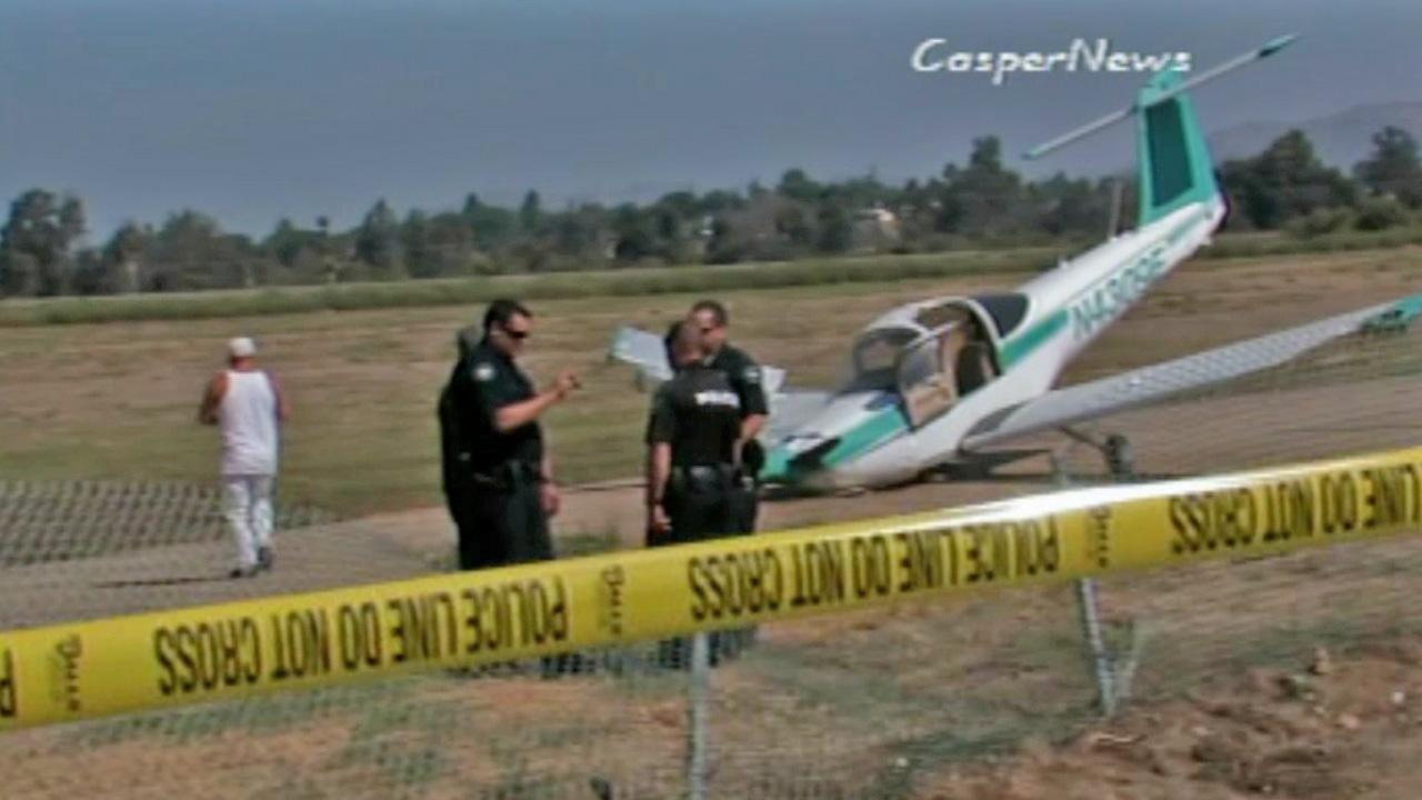 A small plane crashed near a little league field across from Corona Municipal Airport on Saturday, Oct. 13, 2012.