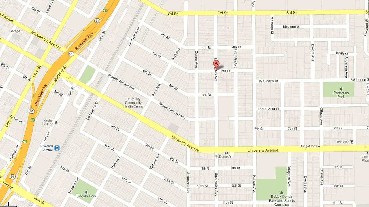 A map indicates the location of an attempted kidnapping at Eucalyptus Avenue and Fifth Street in Riverside.