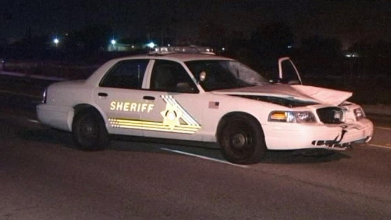 A San Bernardino County sheriffs patrol vehicle was involved in a fatal accident with a pedestrian in Bloomington on Sunday, Nov. 4, 2012.