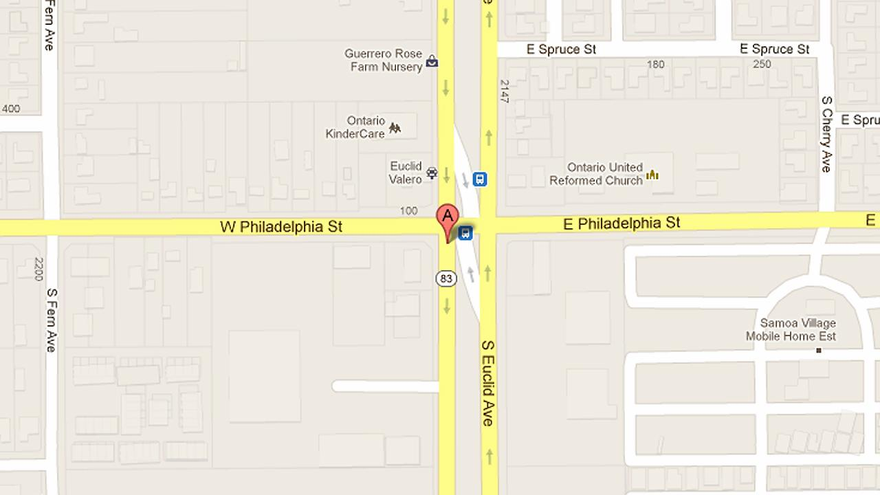 A map shows the 2200 block of South Euclid Avenue in Ontario where a 49-year-old man was shot and killed.