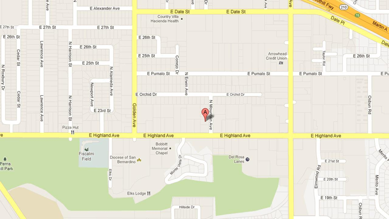 A map indicates the Days Inn located at 1386 East Highland Avenue in Highland where an armed robbery suspect, identified as Clyde Ryan Murray, 33, of Hemet was killed by sheriffs deputies as he left the motel Friday, Nov. 30, 2012.