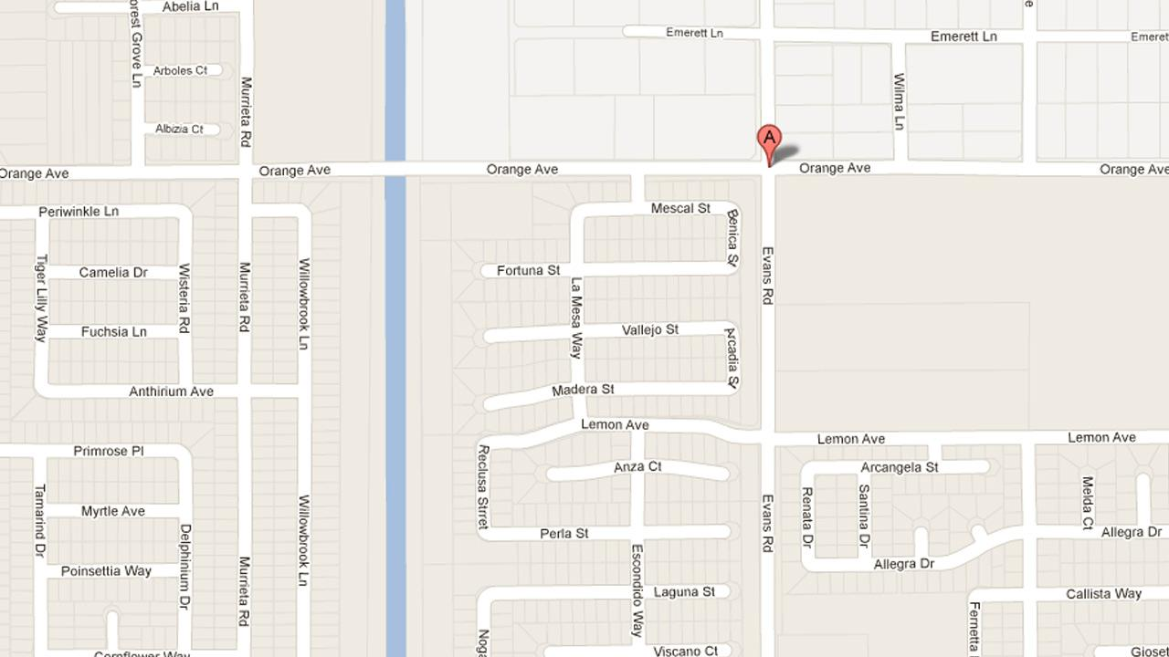 A map indicates the location where Riverside deputies found the body of a man reported missing in Perris on Sunday, Dec. 30, 2012.