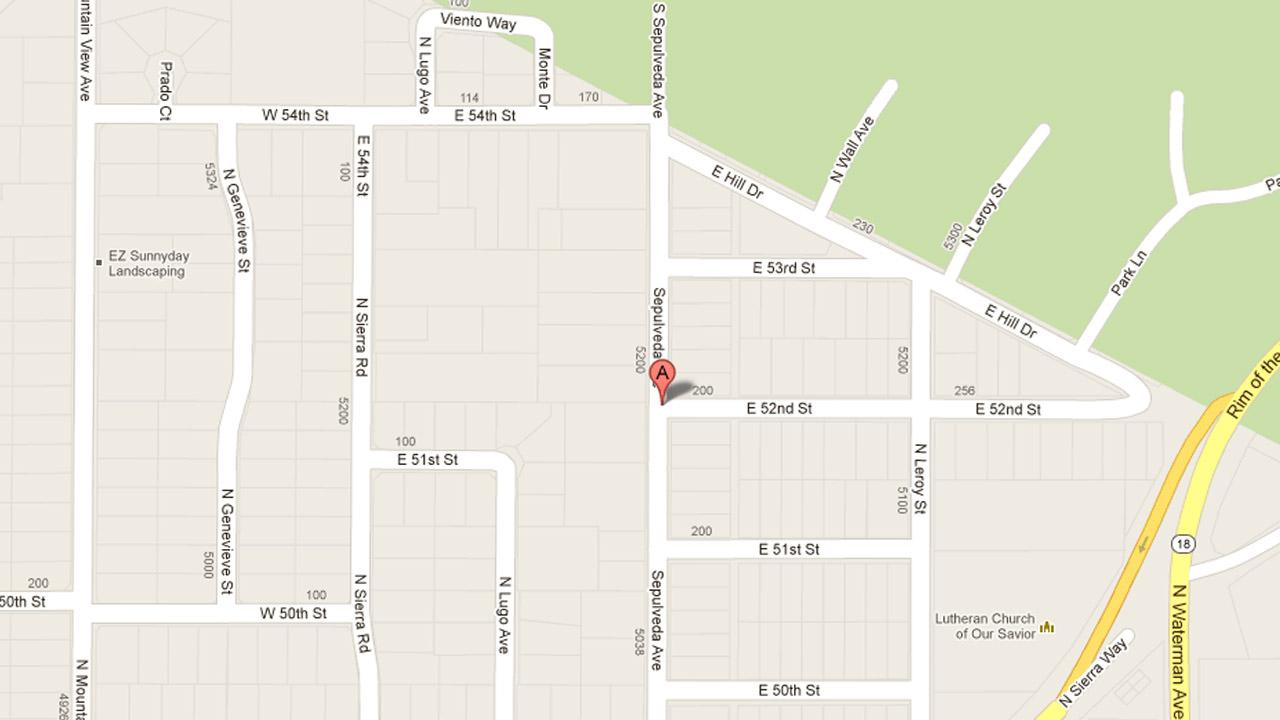 A map indicates the area near the 200 block of East 52nd Street in San Bernardino where four juveniles were arrested Friday, Jan. 11, 2013 for residential burglary.