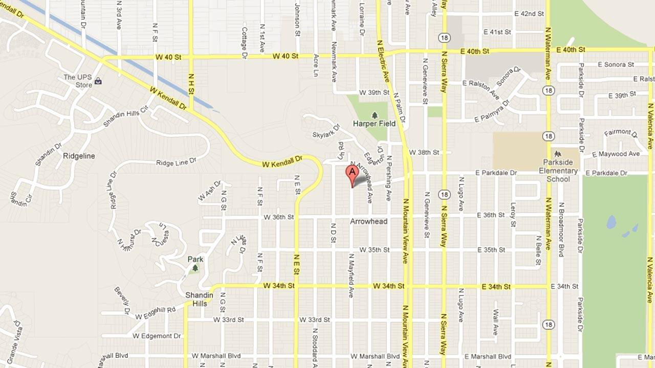A map indicates area the area in the 3700 block of North Mayfield Avenue in San Bernardino where an armed suspect invaded an elderly victims residence at gunpoint on Sunday, Jan. 20, 2013.