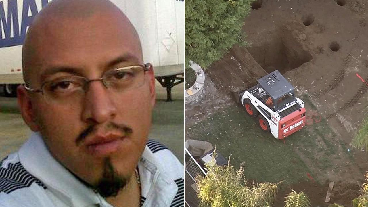 Oscar Contreras Escobar, a 29-year-old self-employed truck driver, has not been seen since August. Investigators focused on the backyard of a home in Ontario on Thursday, Jan. 31, 2013.