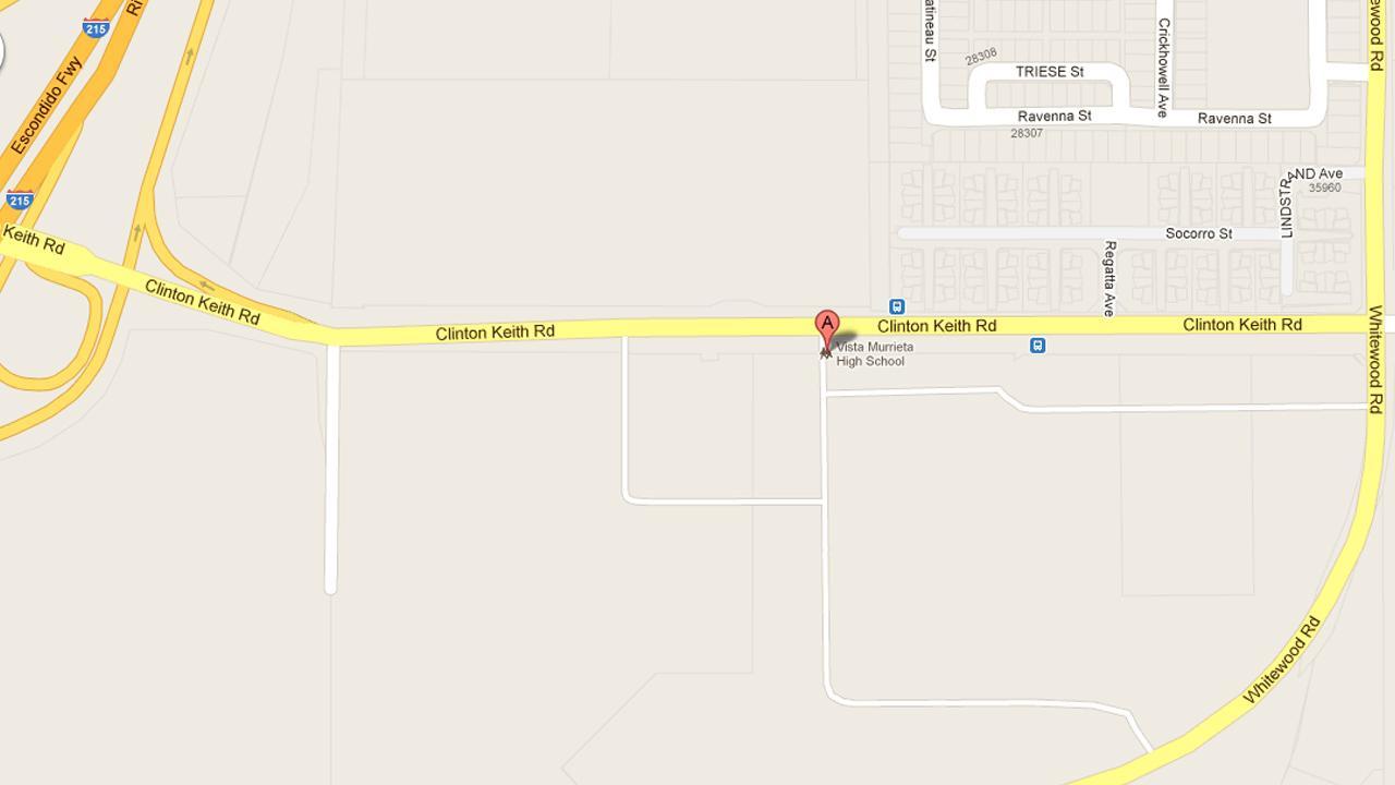 A map show the location of Vista Murrieta High School.