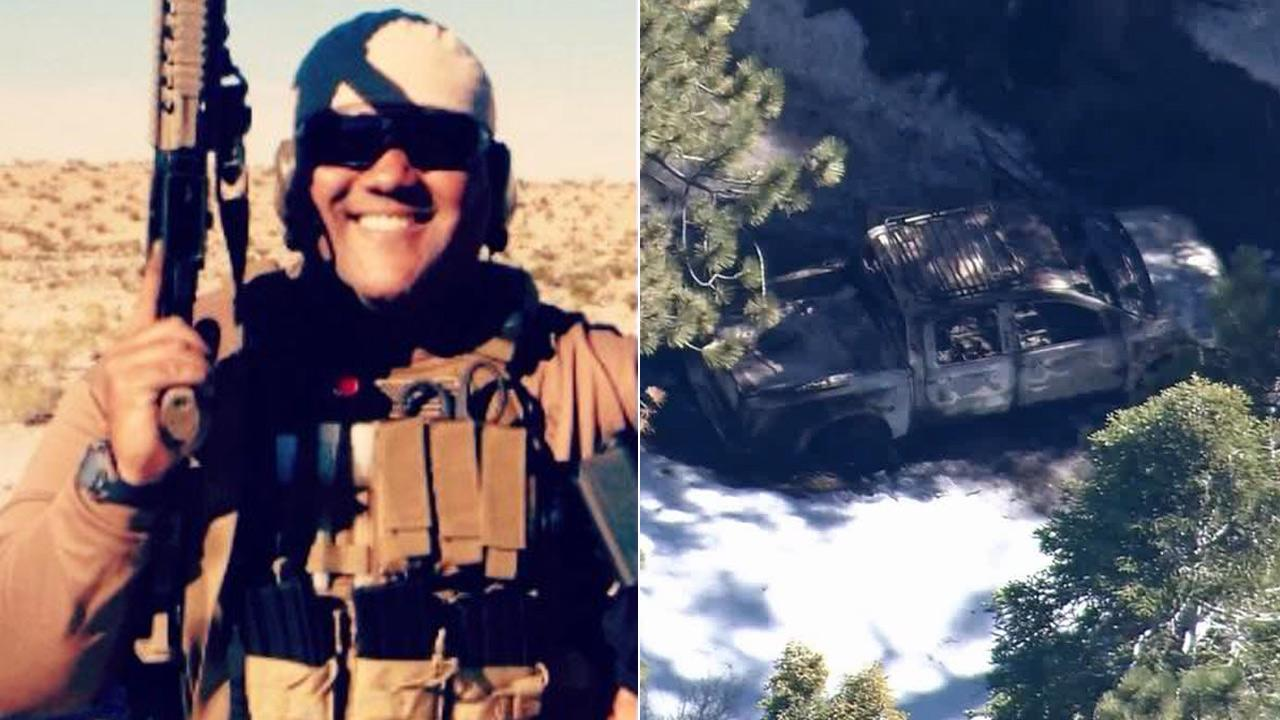 LEFT: Chris Dorner, suspected of murdering an Irvine couple and shooting three police officers in the Inland Empire, is seen in this undated photo.  RIGHT: Dorners burned-out pickup truck was found Thursday afternoon, Feb. 7, near Bear Mountain.