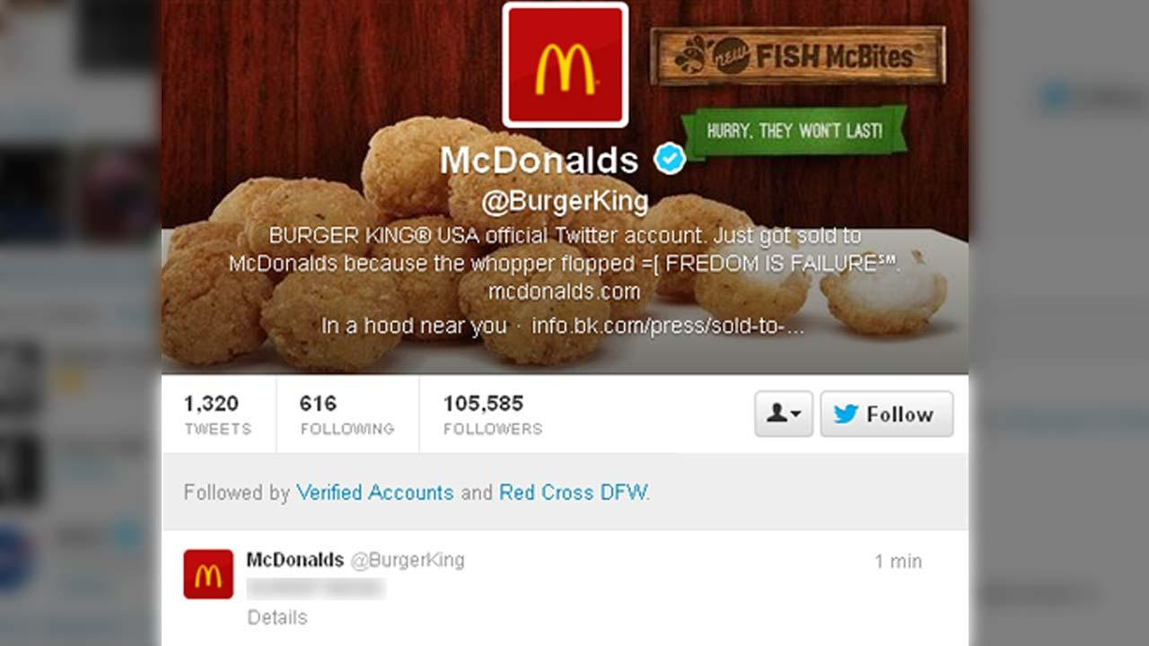 Burger Kings official Twitter page appears online featuring rival McDonalds branding and some obscene tweets