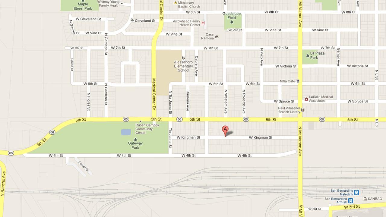 San Bernardino Police responded to a report of a man shot on West Kingman Street Saturday, Feb. 16, 2013.