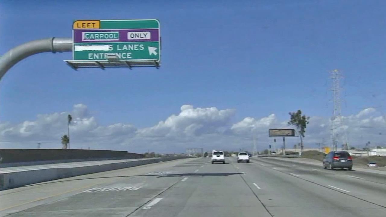 The carpool lane on the 10 Freeway is shown in this photo taken Feb. 22, 2013.