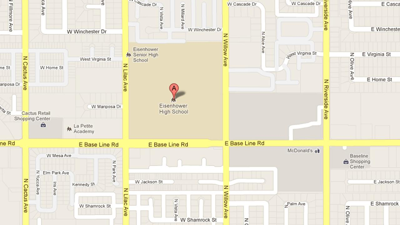 A map shows Eisenhower High School in Rialto, Calif.