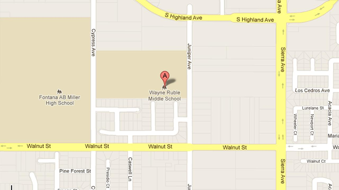 A map indicates the location of Wayne Ruble Middle School in Fontana, where a teacher was found dead.