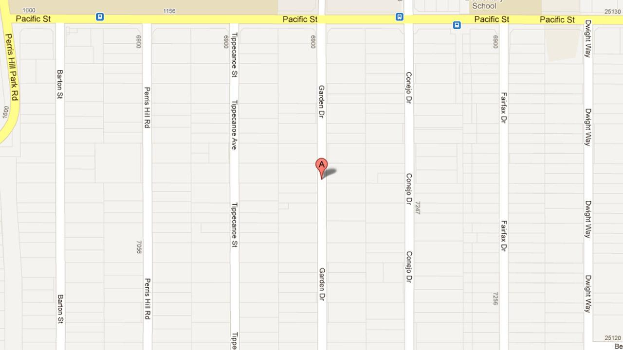 A map indicates the area near the 7000 block of Garden Drive in the unincorporated area of San Bernardino where a man was fatally shot Saturday, March 16, 2013.