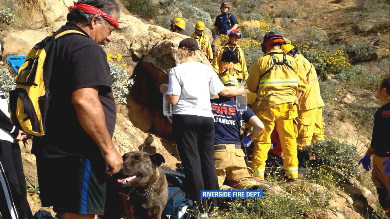 A hiker trapped for days between rocks on Mt. Rubidoux without food or water may have never been found if it wasnt for another hiker and his dog on Monday, March 25, 2013.