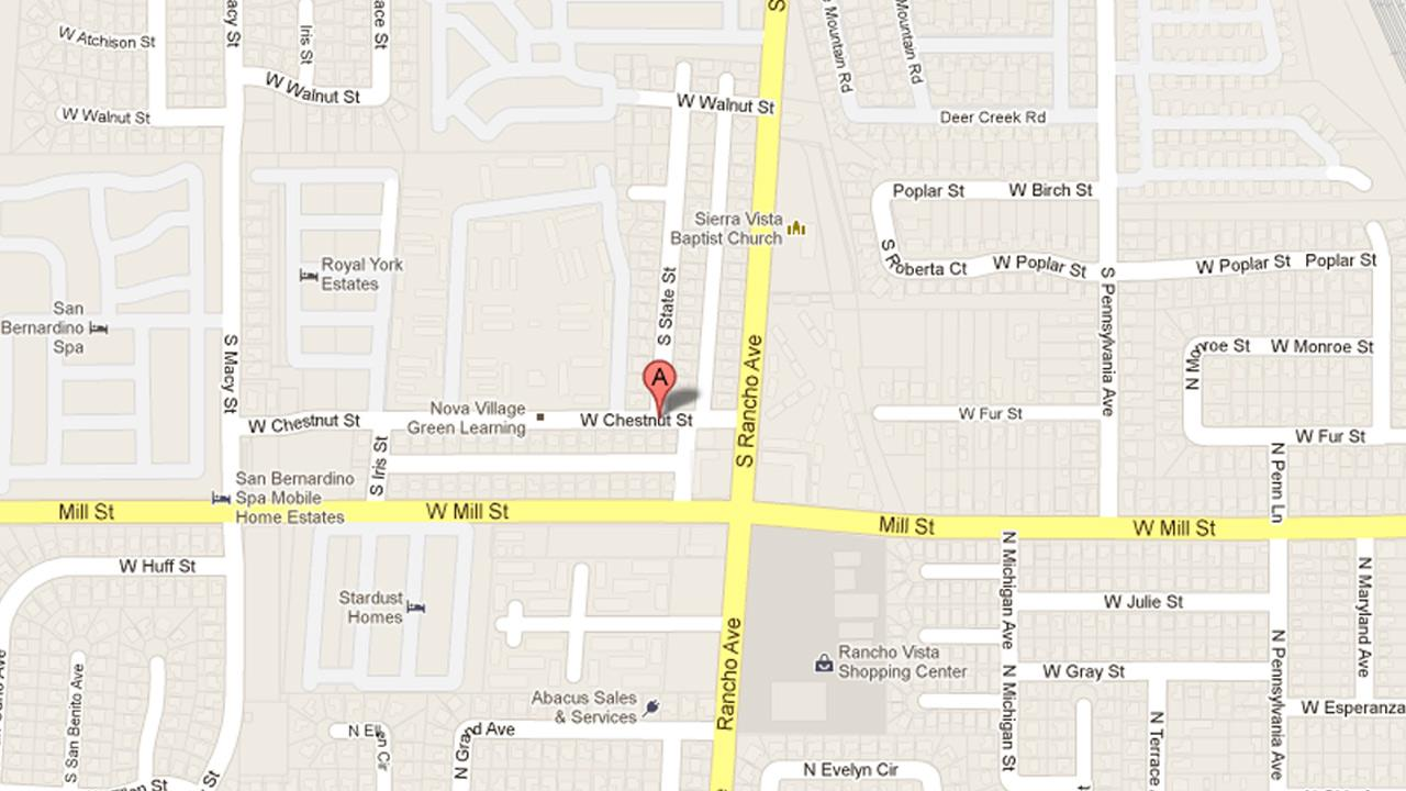 A map indicates the location of Chestnut Street at State Street in San Bernardino, where a man was found shot to death on Monday, April 8, 2013.