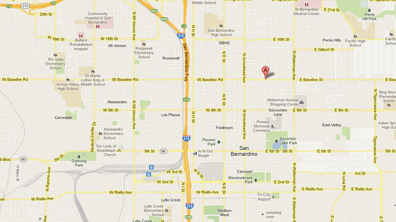 A map indicates the area where two fatal shootings took place within a 24-hour period near the on the 1200 block of North Sierra Way in San Bernardino.
