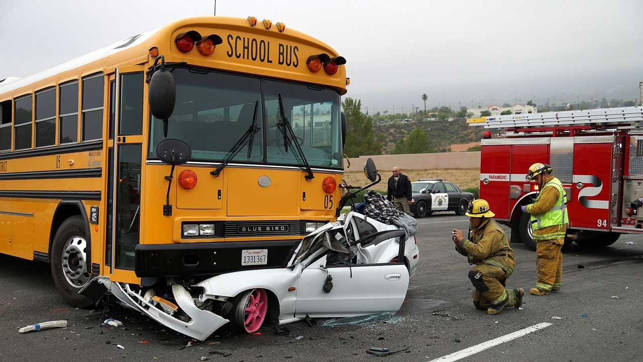 An 18-year-old driver was hospitalized after his car collided with a school bus at the intersection of Canyon Ridge and Summerhill drives in Lake Elsinore on Friday, April 12, 2013.