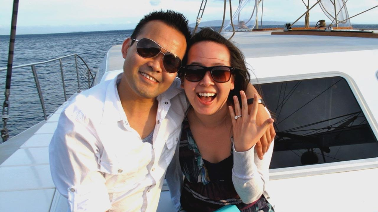 Ivy Huang (right) and her fiance Obette Reyes Lacap, who was killed in Yuca Valley, appear in an undated file photo.