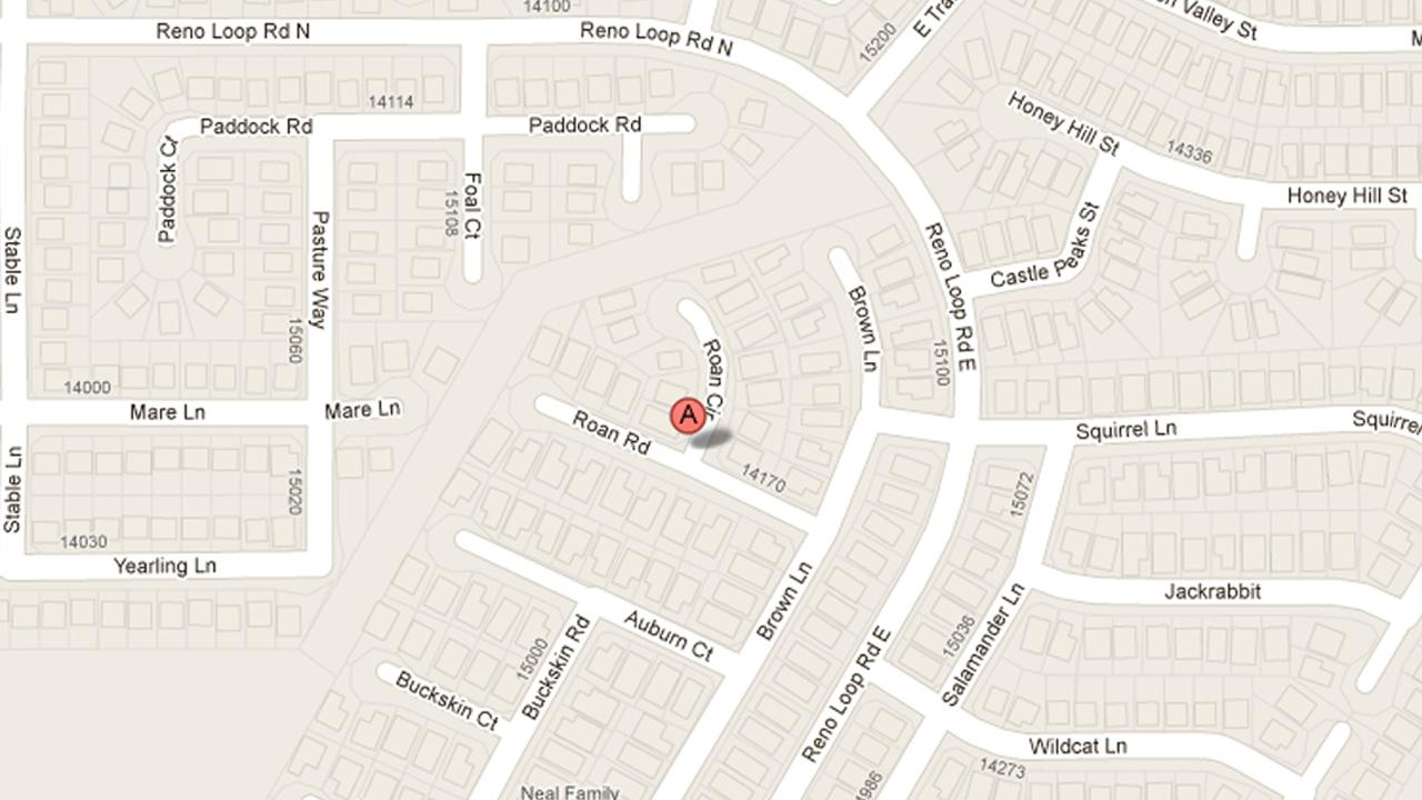 A map indicates the location of a shooting in the 15000 block of Roan Circle in Victorville on Sunday, May 19, 2013.