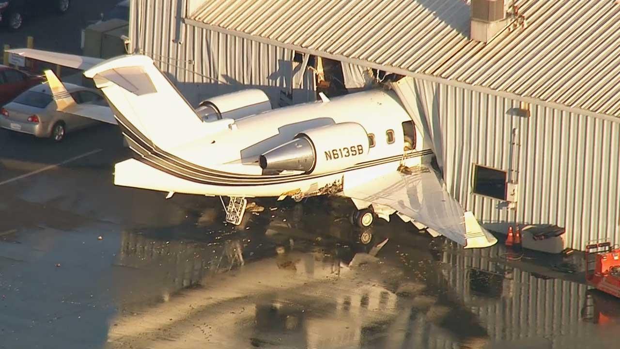 A Challenger jet struck a hangar at a Chino airport Thursday, June 13, 2013.
