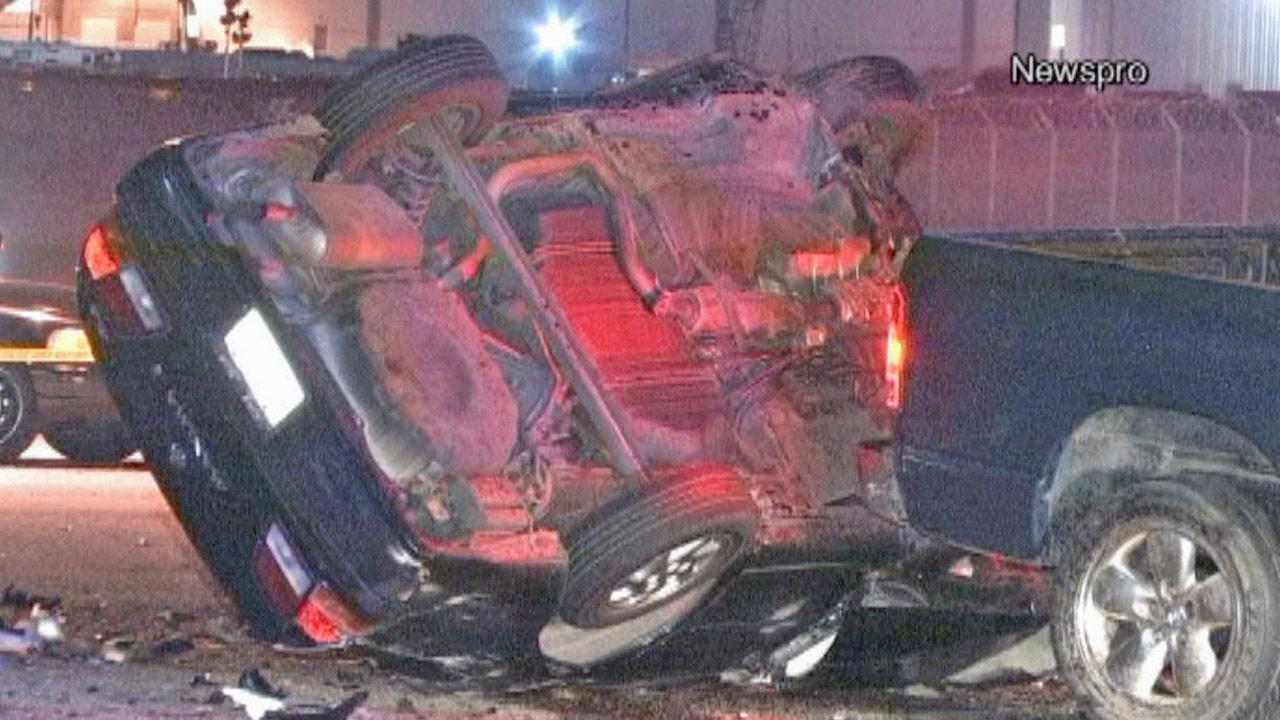 A car is flipped on its roof following a head-on crash believed to be caused by an alleged drunken driver in San Bernardino on Thursday, June 20, 2013.