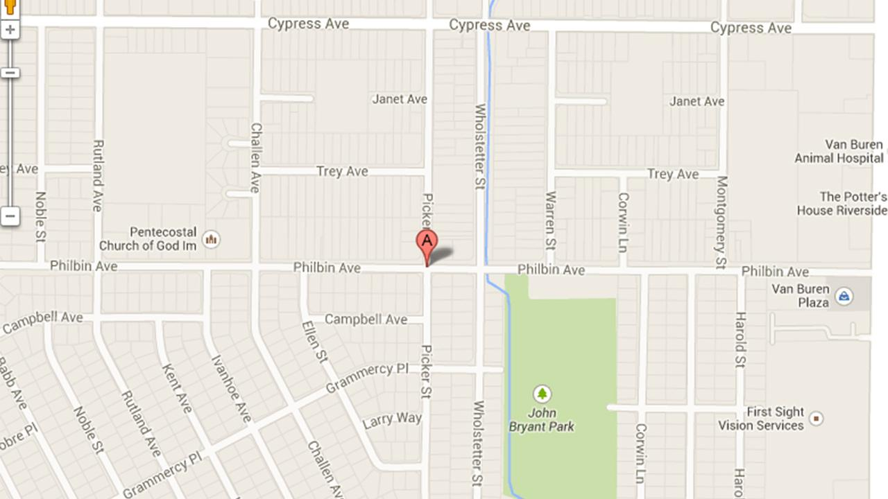 A map indicates the 5700 block of Picker Street in Riverside, where a 21-year-old woman was sexually assaulted on Friday, Aug. 2, 2013.