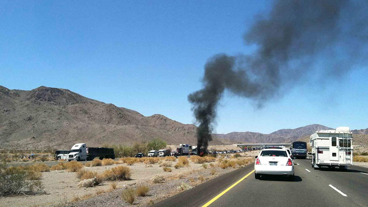 All lanes of the northbound 15 Freeway near the Baker area of San Bernardino County were temporarily closed following a fatal collision Saturday, Aug. 17, 2013.