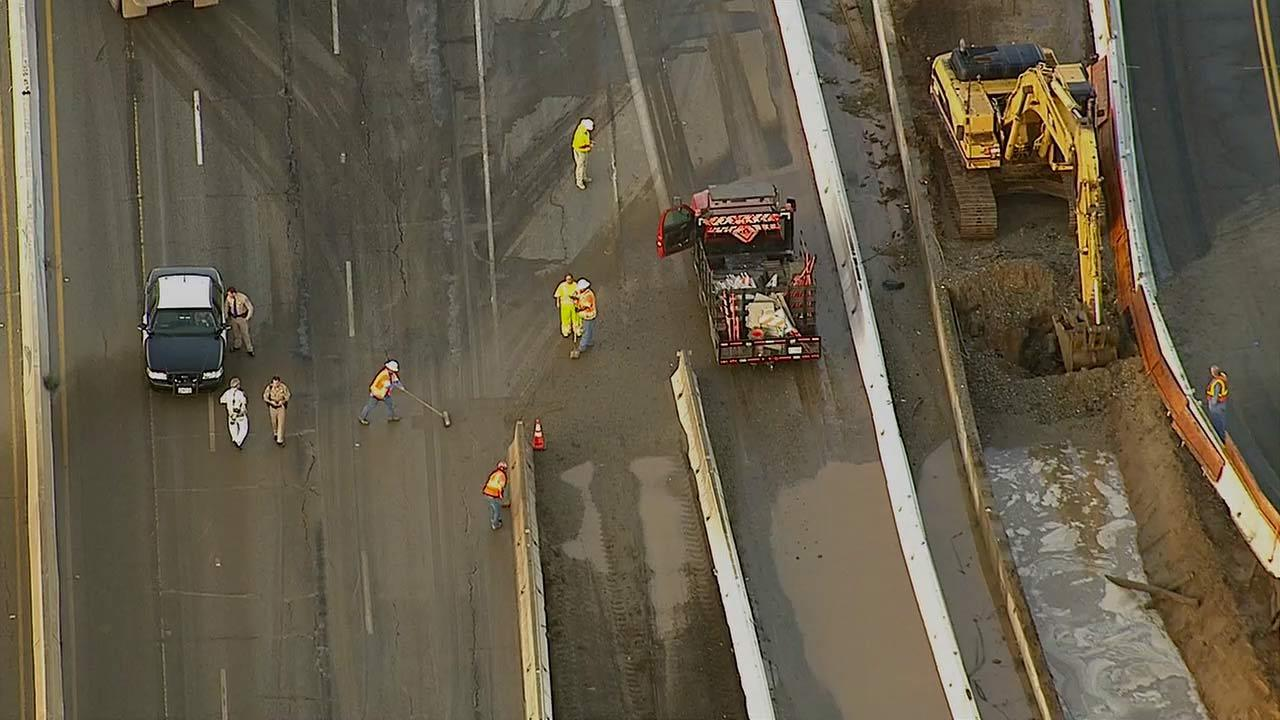 A gas main break triggered the closure of a stretch of the 215 Freeway near Highgrove in Riverside County on Friday, August 16, 2013.