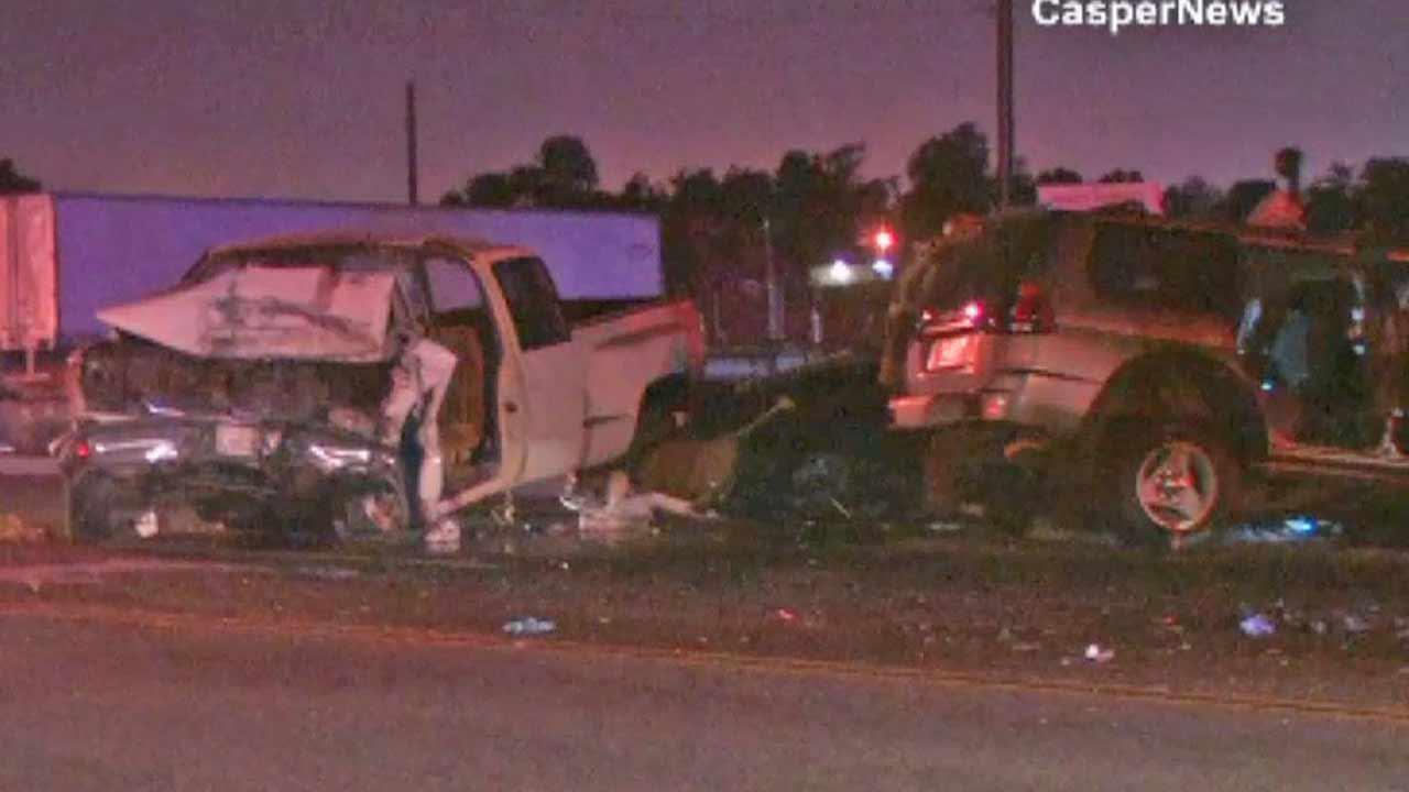 One person is dead and four injured following a fiery 3-car collision near Rubidoux Boulevard and El Revino Road in the Rubidoux area of Riverside County on Sunday, Aug. 25, 2013.