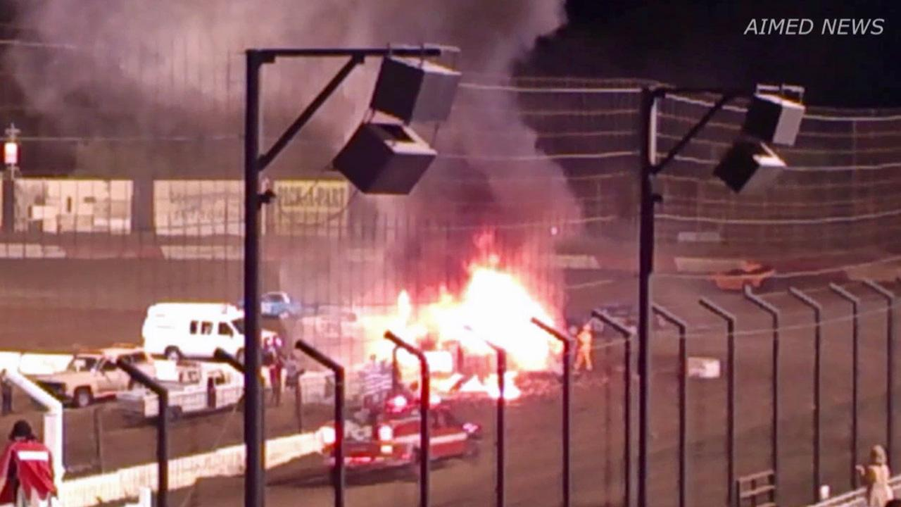 A fiery crash at the Perris Auto Speedway on Saturday, Sept. 7, 2013, left a man with serious burns.