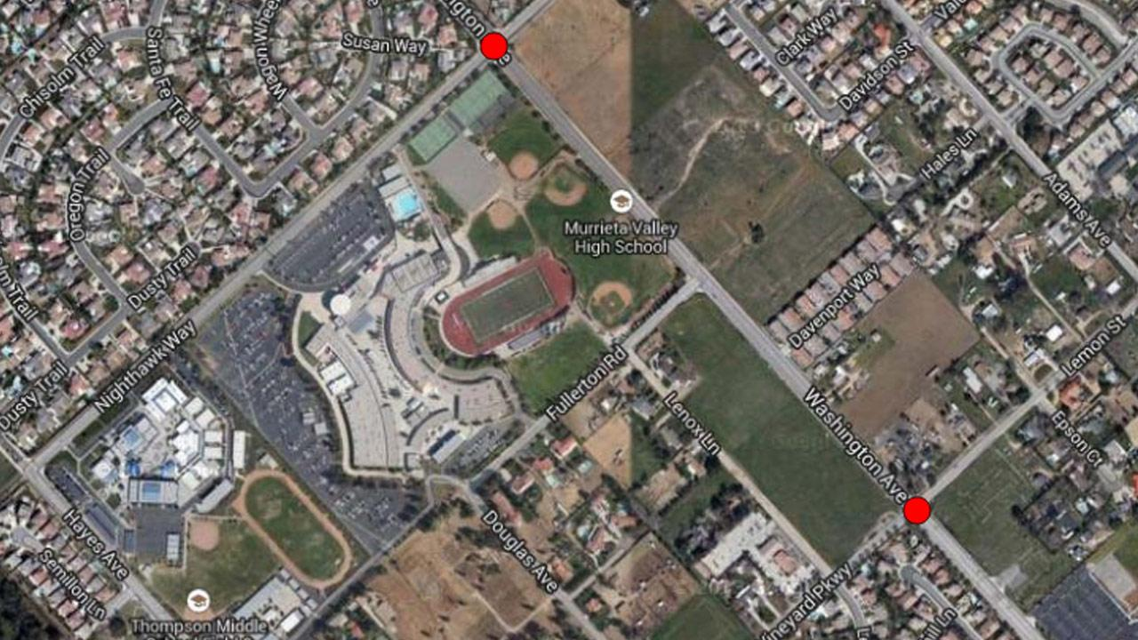A map indicates the locations of two incidents, where a man performed lewd acts in front of teenage girls on their way to Murrieta Valley High School in September 2013.