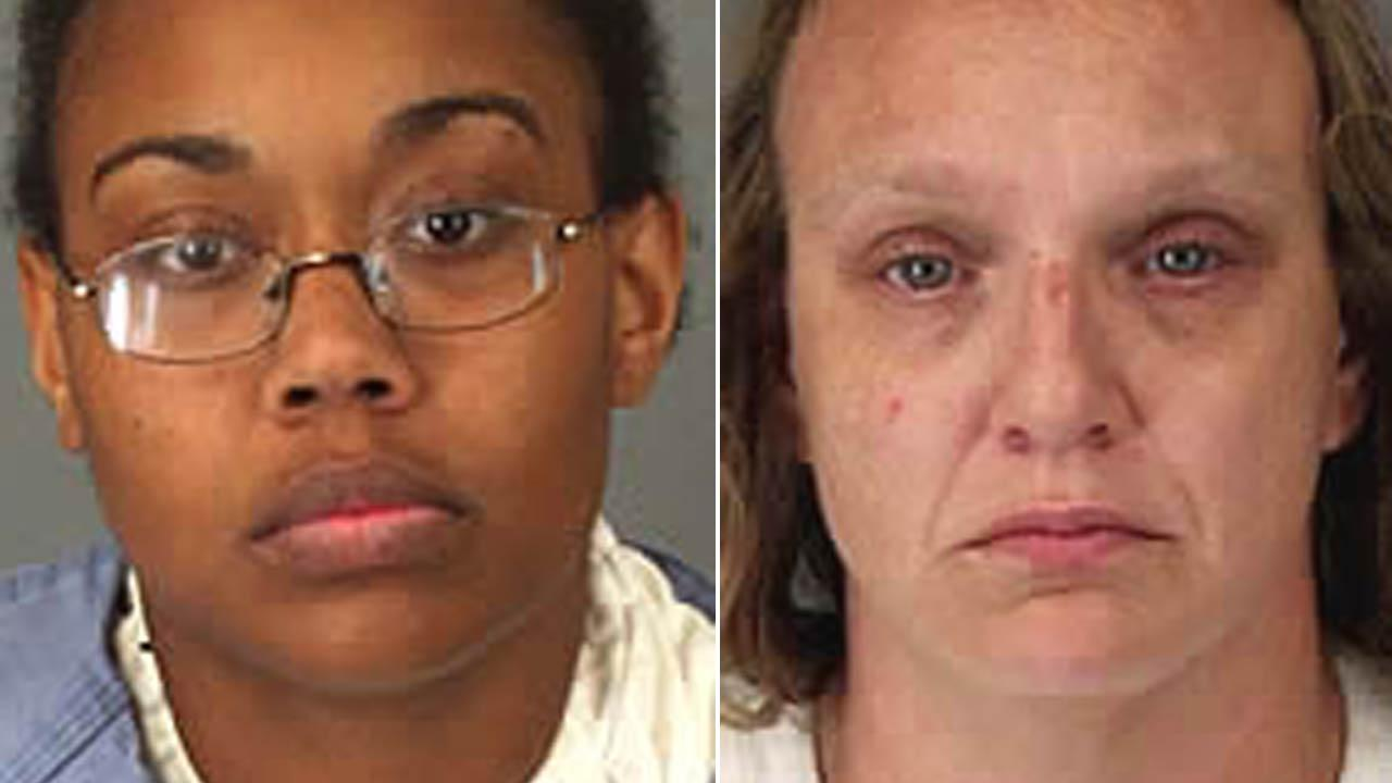 Mishay Alls, 23, (left) and Amber Cochran, 36, (right) were arrested on kidnapping assault and conspiracy charges Saturday, Sept. 14, 2013 after abducting Alls 2-year-old son from an apartment complex in Perris.