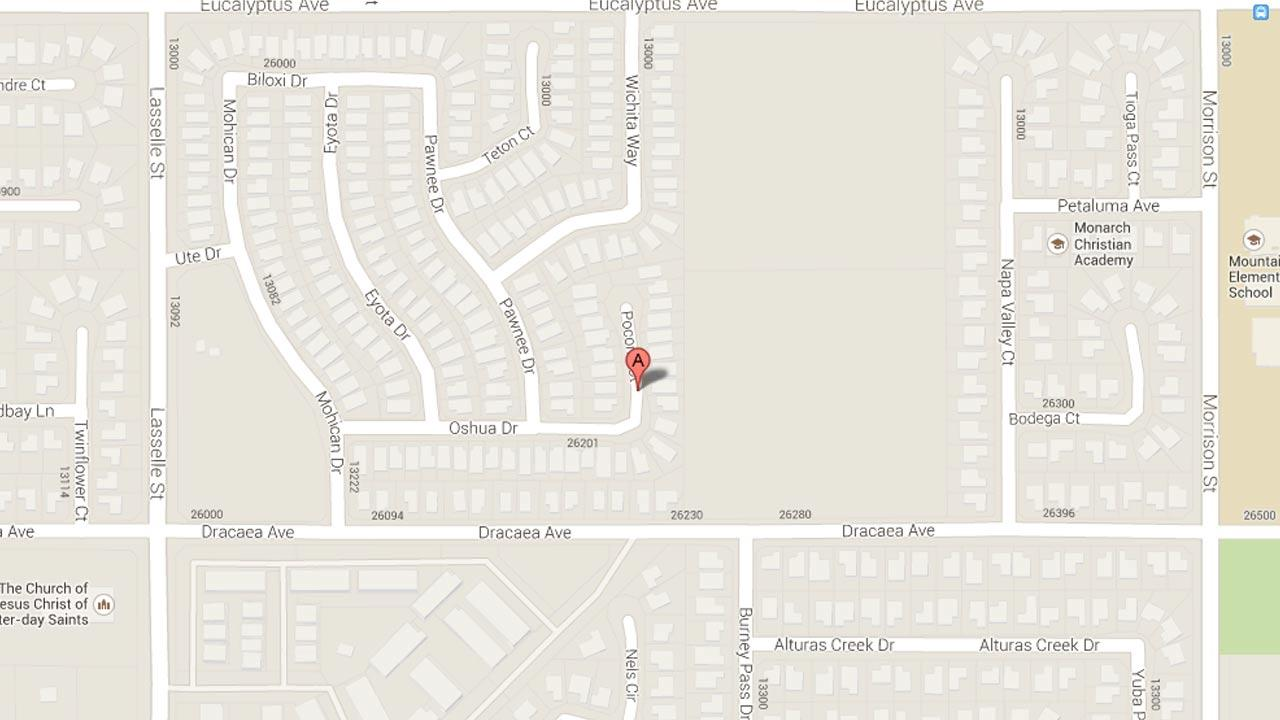 A map indicates the area near the 13000 block of Pocono Court in Moreno Valley where police responded to reports of an apparent hate crime Sunday, Oct. 13, 2013.